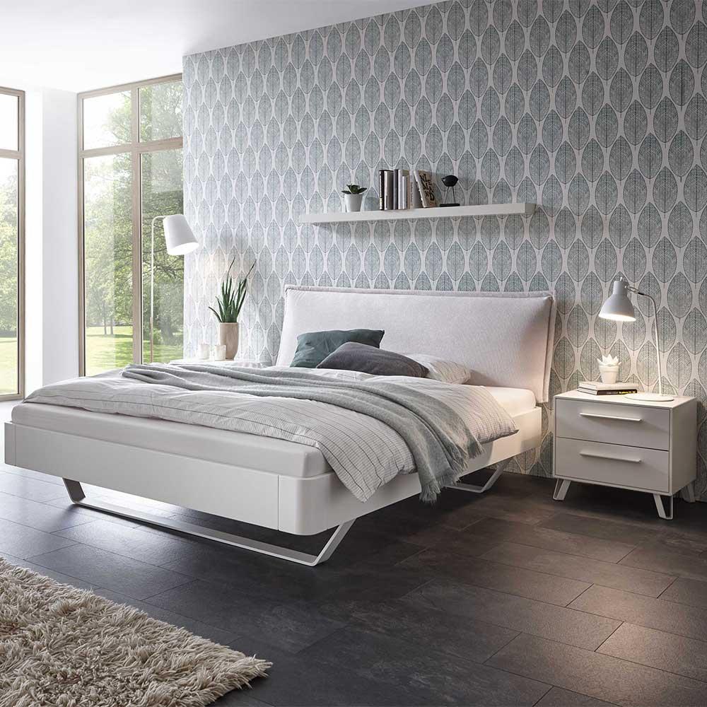 Weißes Bett aus Buche Massivholz und Metall Nachtkommoden (3-teilig)