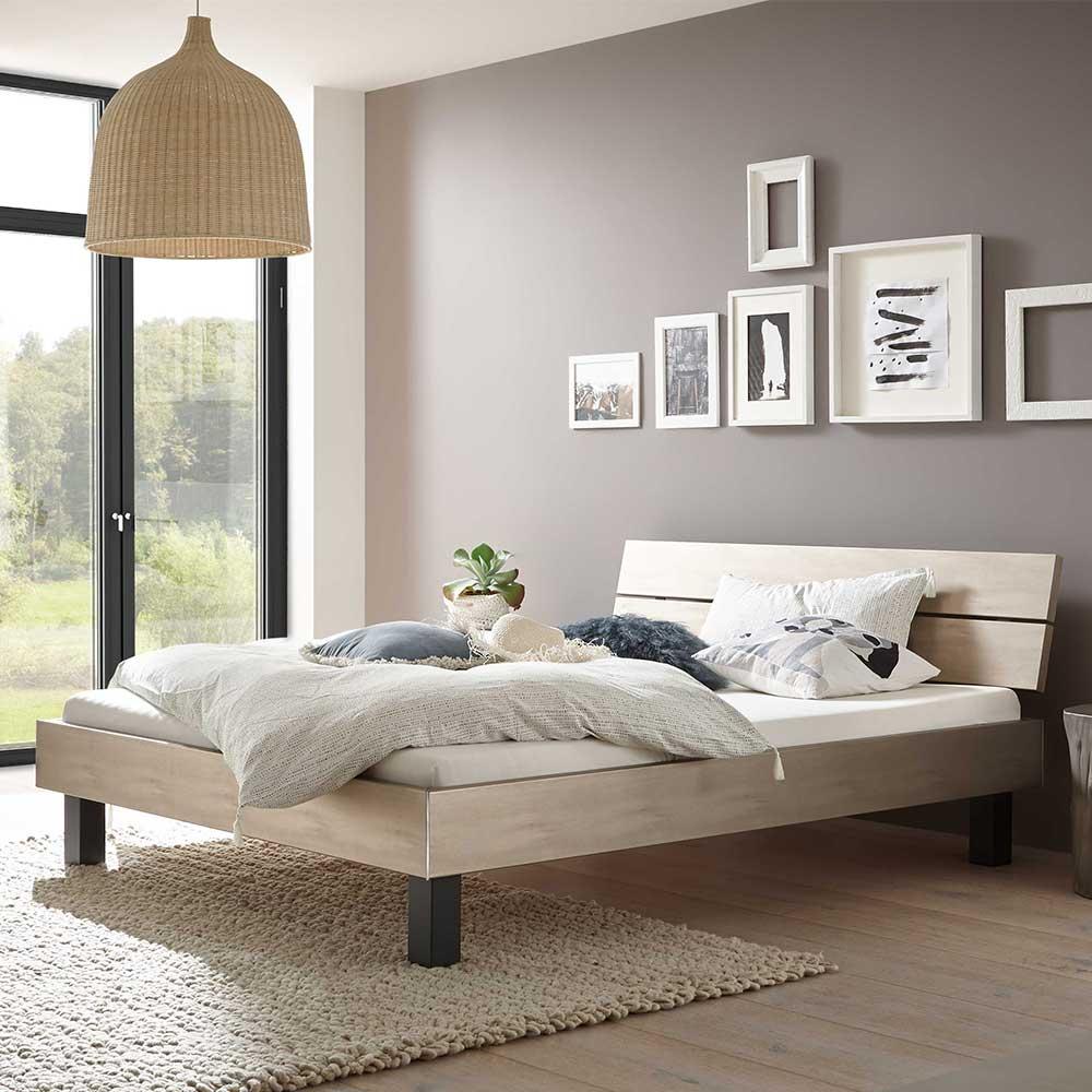 Futonbett in Silberfarben und Anthrazit modern