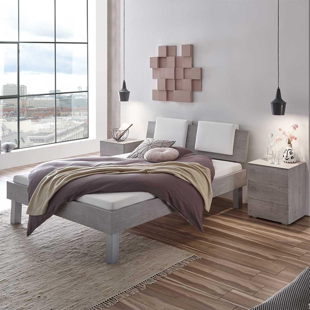 Doppelbett in Beton Grau gepolstertem Kopfteil in Weiß (dreiteilig)