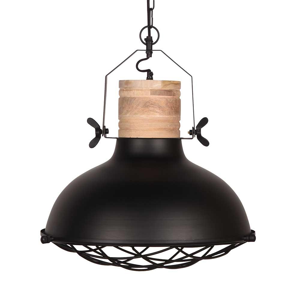 Design Hängeleuchte aus Mangobaum Massivholz und Metall modern