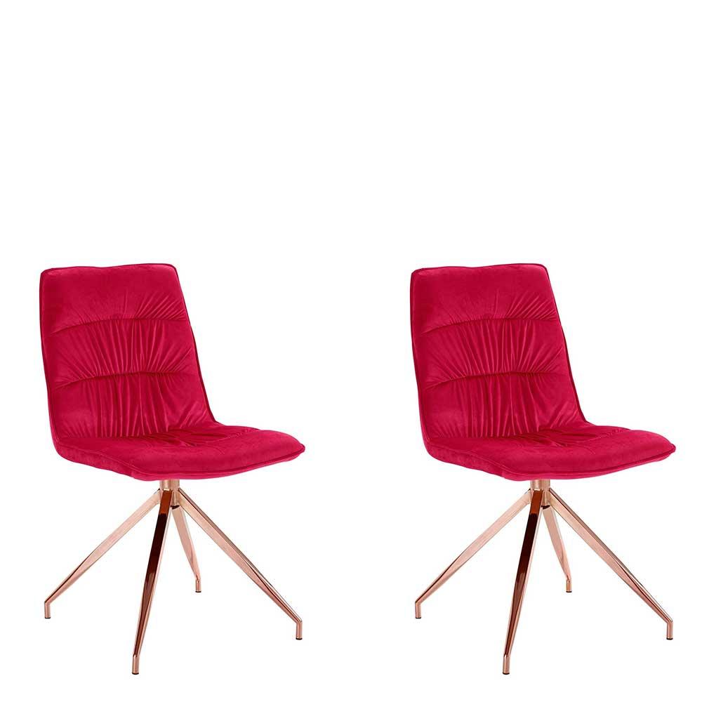Esstisch Stühle in Rot Samt Metallgestell in Kupferfarben (2er Set)