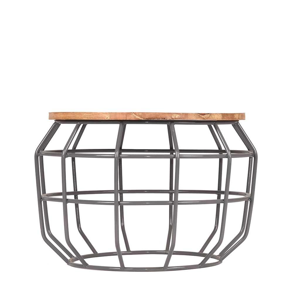 Runder Couchtisch in Grau und Mangobaum Skandi Design
