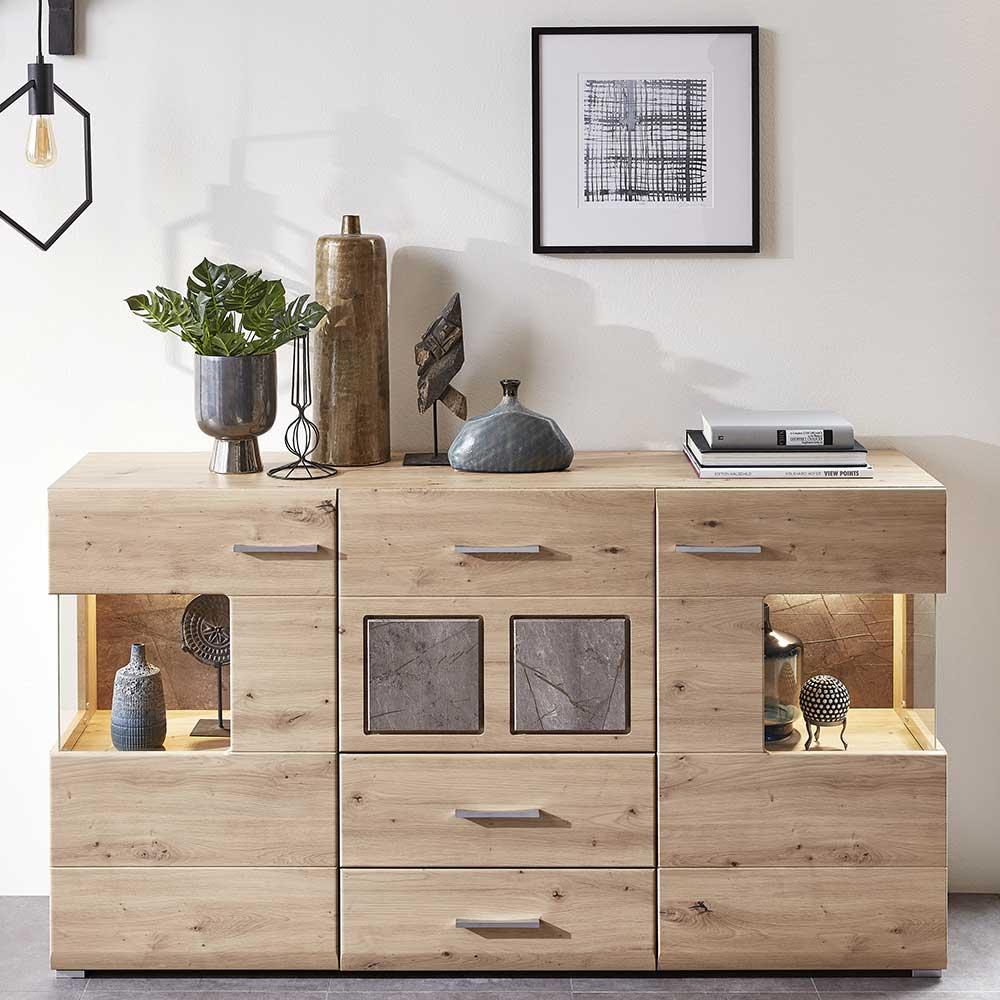 Design Sideboard in Graubraun und Wildeiche Optik 170 cm breit