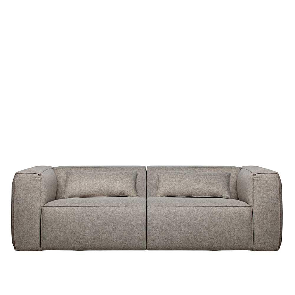 Dreier Sofa in Hellgrau Webstoff Armlehnen