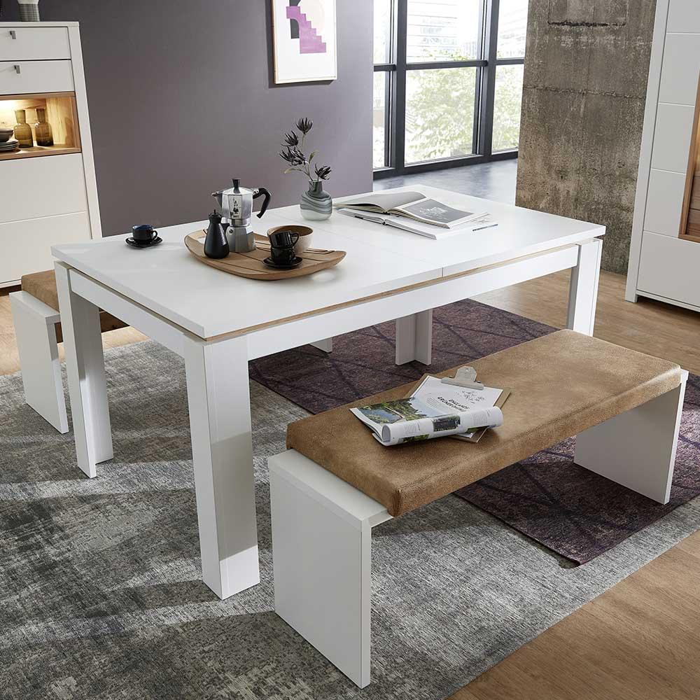 Bank Essgruppe in Weiß und Hellbraun ausziehbarem Tisch (dreiteilig)