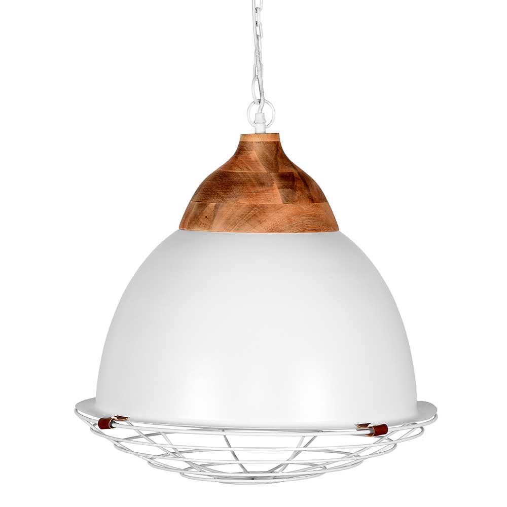 Hängeleuchte in Weiß und Mangobaum Skandi Design