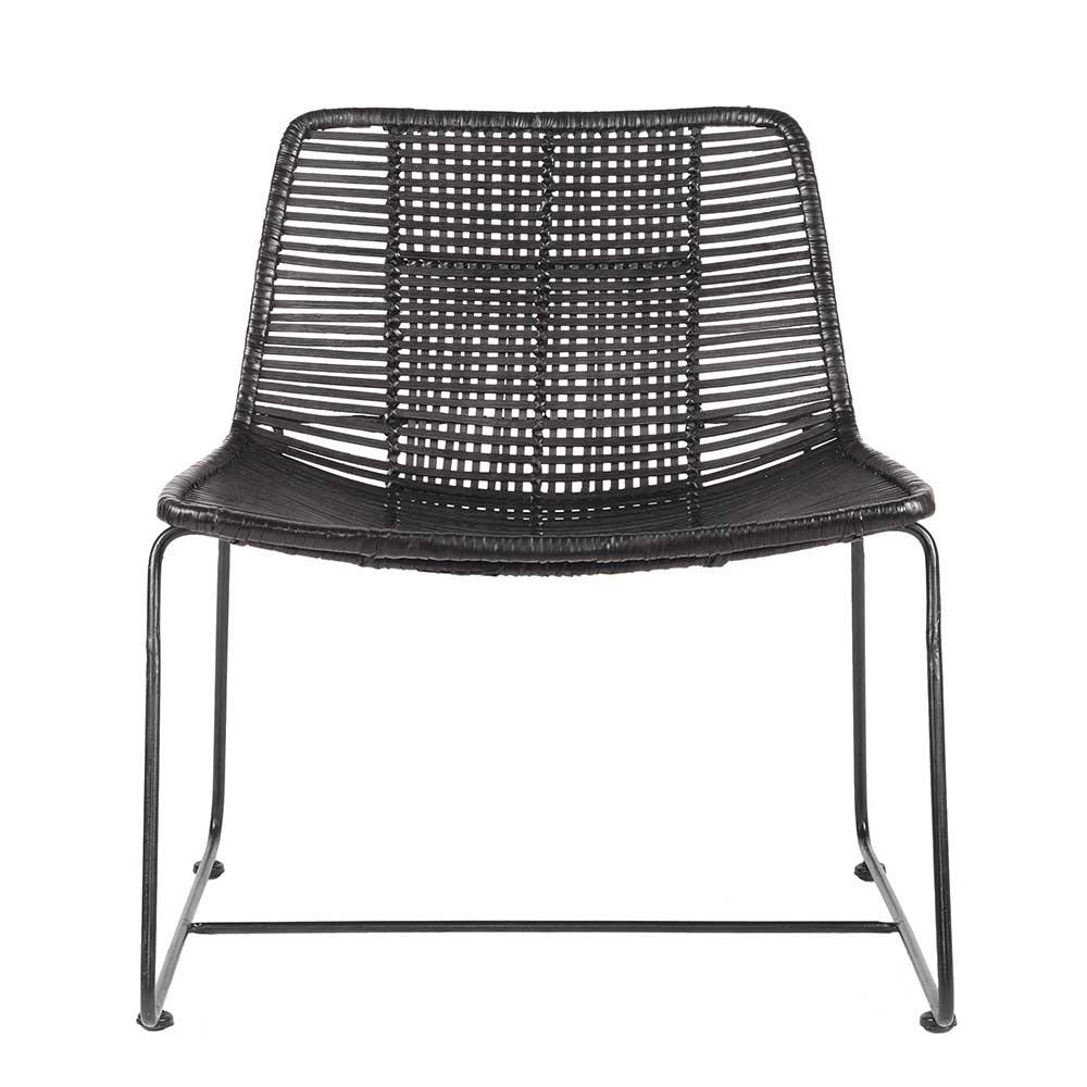 Lounge Sessel aus Rattan Schwarz
