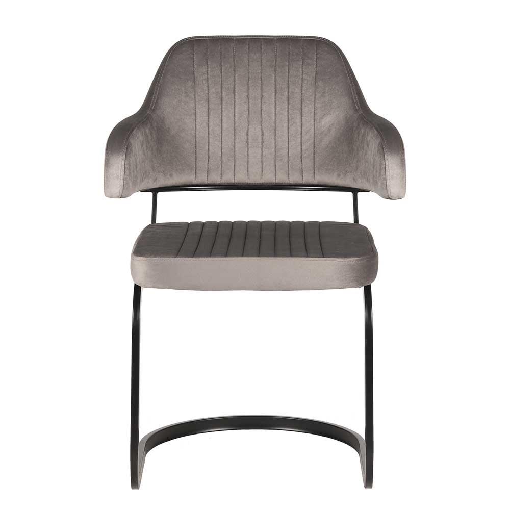 Freischwinger Sessel in Grau Samt 50 cm Sitzhöhe