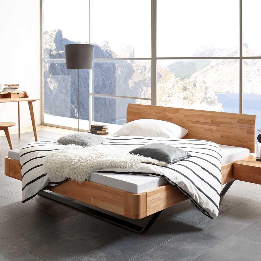 Holzbett aus Kernbuche Massivholz Nachtkonsolen
