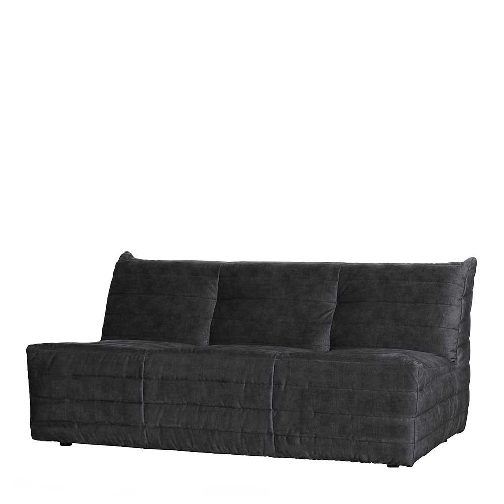 Dreisitzer Sofa in Anthrazit Samt 160 cm breit