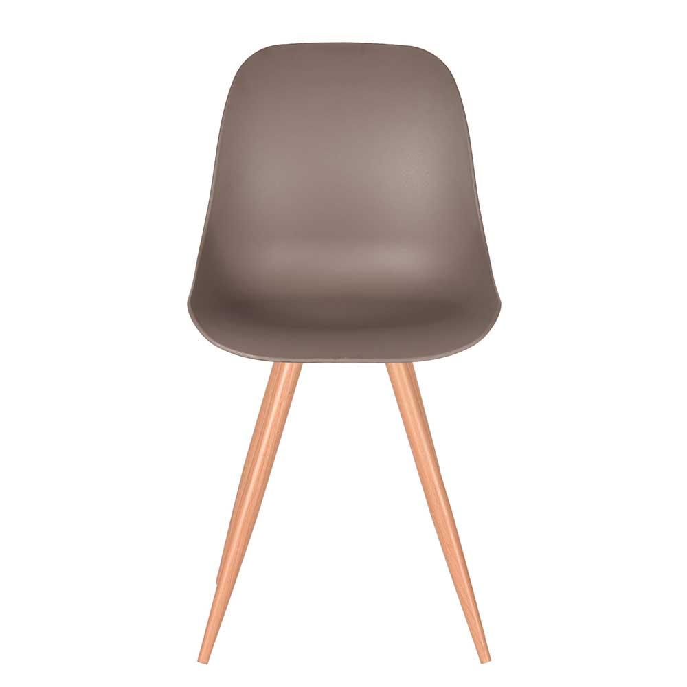 Esstisch Stuhl in Hellbraun Kunststoff Skandi Design