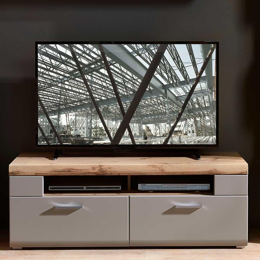 TV Lowboard in Grau und Eiche Optik 140 cm breit