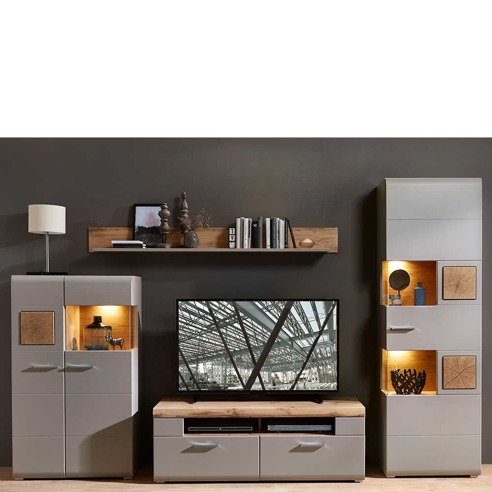 Moderne Wohnwand in Grau und Eiche Optik LED Beleuchtung (vierteilig)