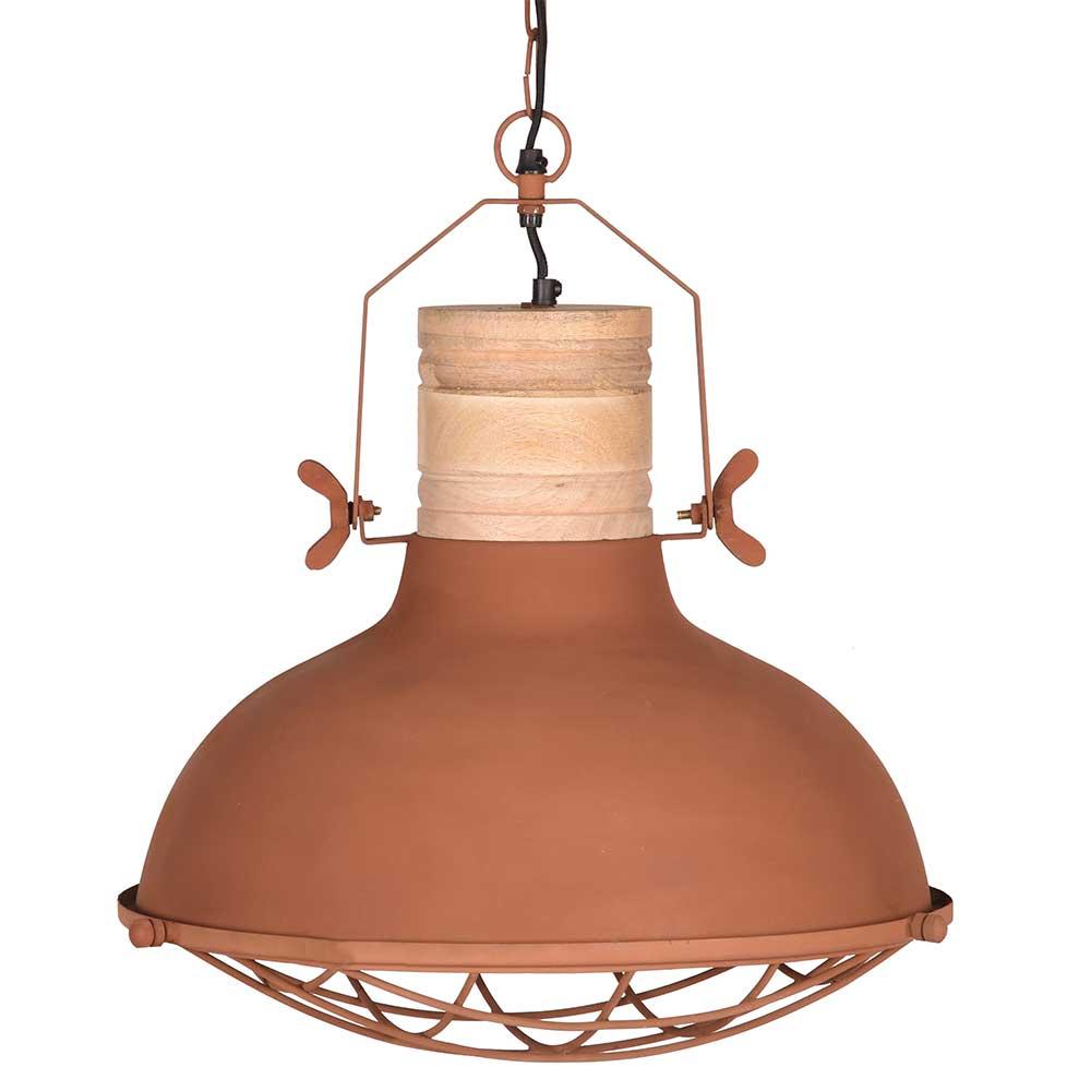 Pendelleuchte in Rostfarben Metall und Massivholz