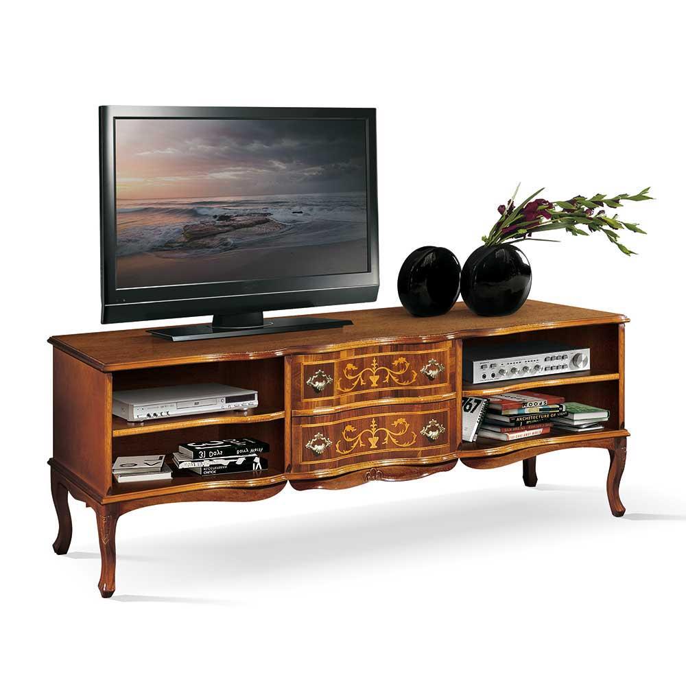 TV Lowboard in Nussbaumfarben Barock Design
