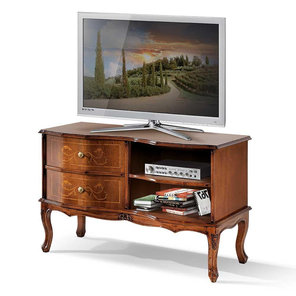 TV Kommode in Nussbaumfarben Barock Design