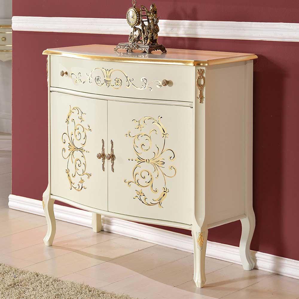 Wohnzimmer Kommode in Weiß und Goldfarben einer Schublade