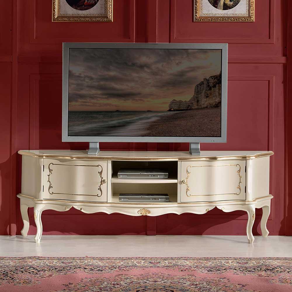 TV Lowboard in Weiß und Goldfarben verziert Barock Design