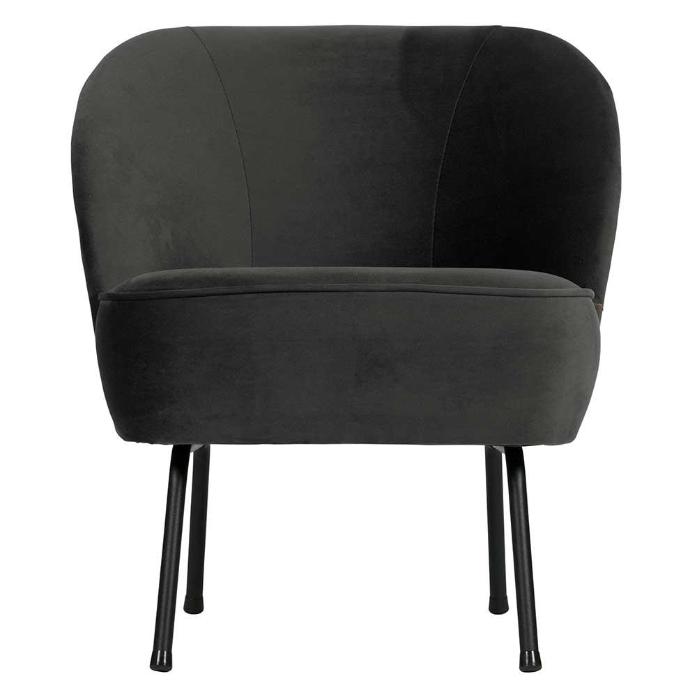 Retro Lounge Sessel in Schwarz Samt 4-Fuß Gestell aus Metall