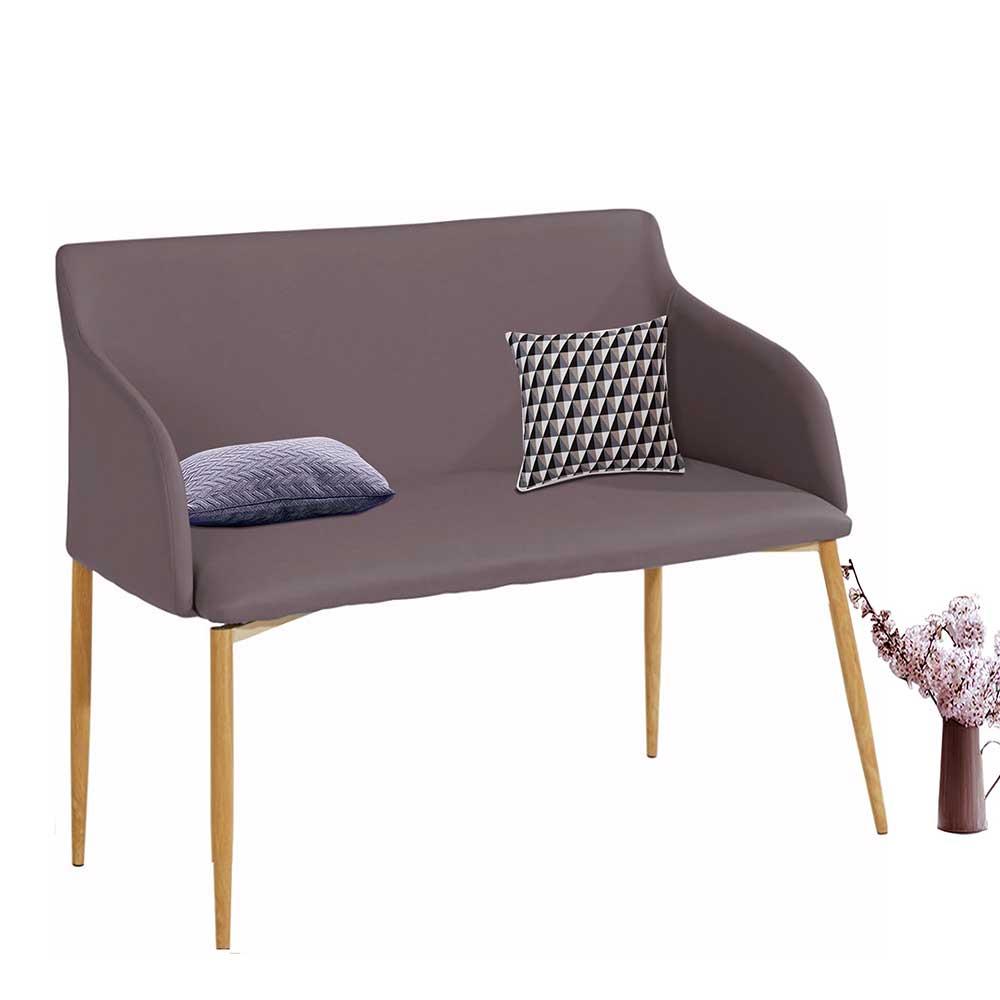 Kunstleder Sitzbank in Hellbraun und Eichefarben 100 cm breit