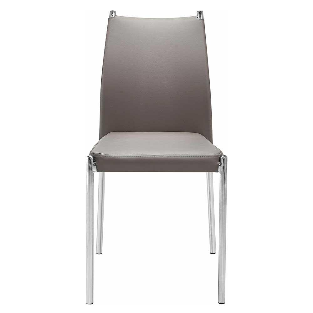 Esstisch Stühle in Hellbraun Kunstleder verchromtem Metallgestell (Set)