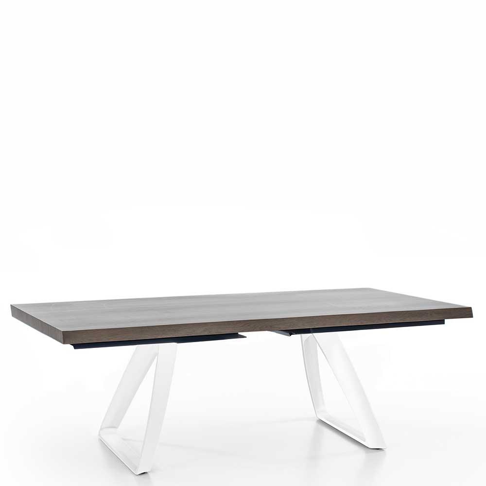 Design Esstisch in Esche Grey Wash furniert Bügelgestell in Weiß
