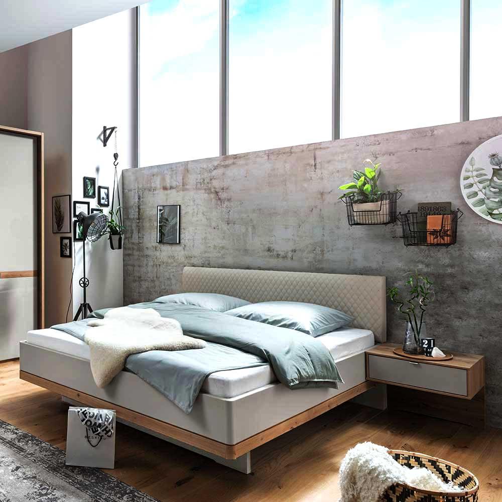 Modernes Komfortbett in Beige und Eiche Bianco Nachtkonsolen (dreiteilig)