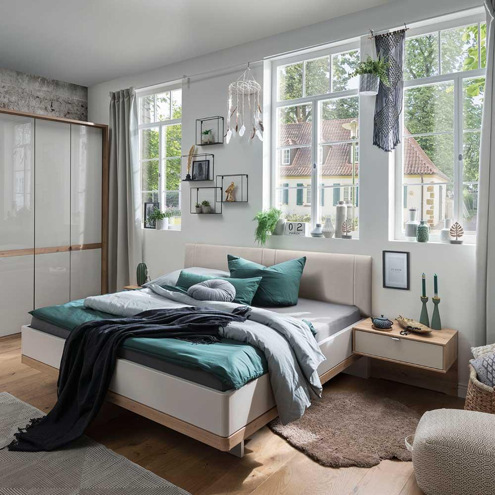 Komfortbett in Beige und Eiche Bianco Made in Germany (dreiteilig)