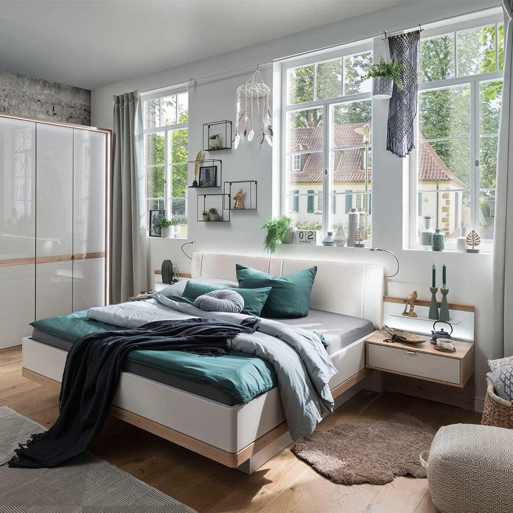 Doppelbett und Nachttische in Beige und Eiche Bianco LED Beleuchtung (dreiteilig)