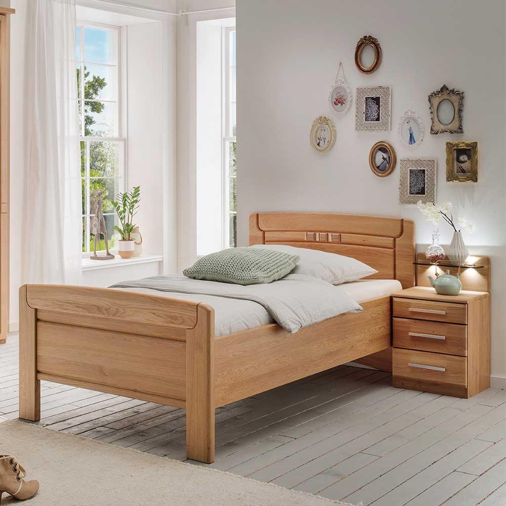 Seniorenbett aus Eiche teilmassiv Nachtkommode (zweiteilig)