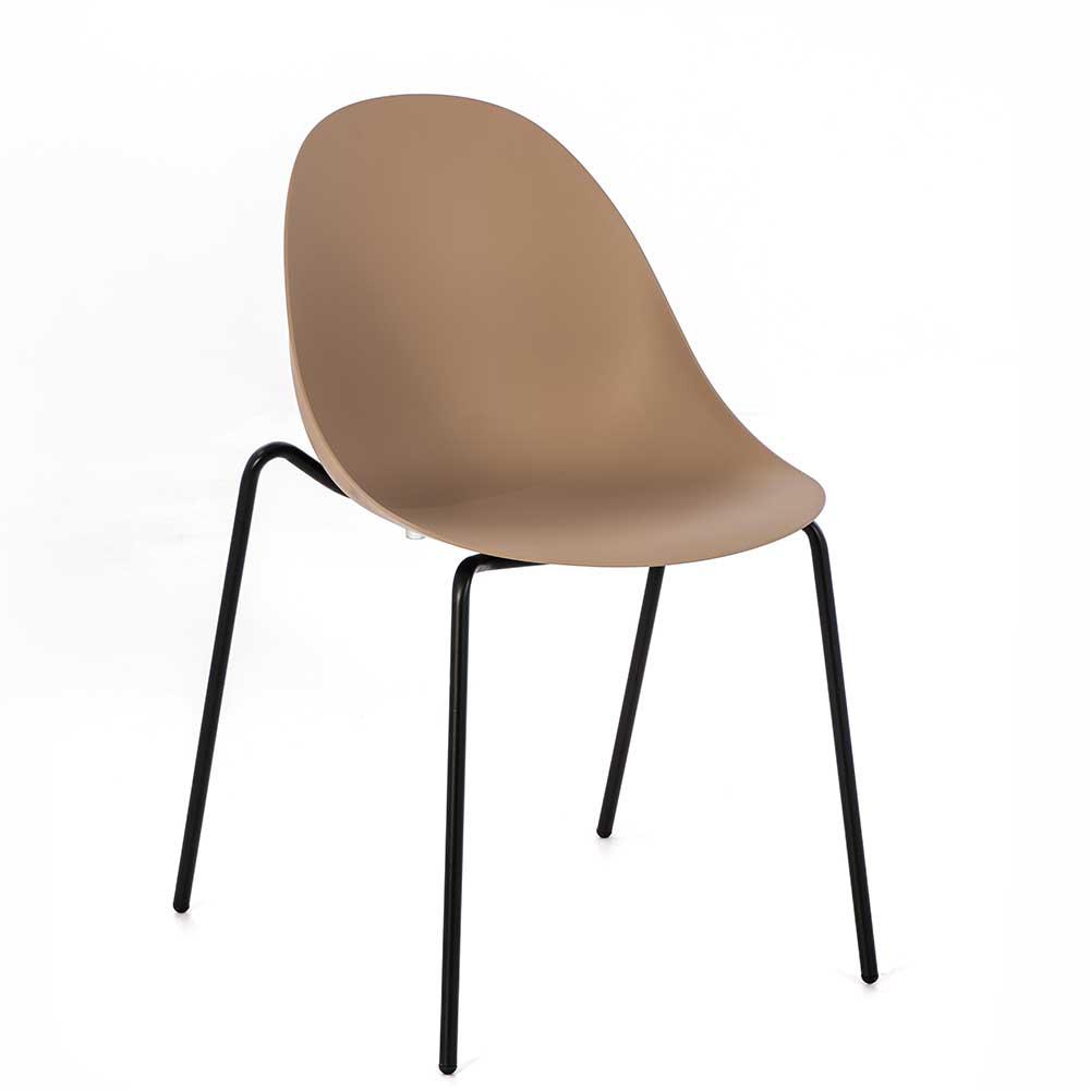 Esstisch Stühle in Hellbraun und Schwarz Kunststoff (4er Set)