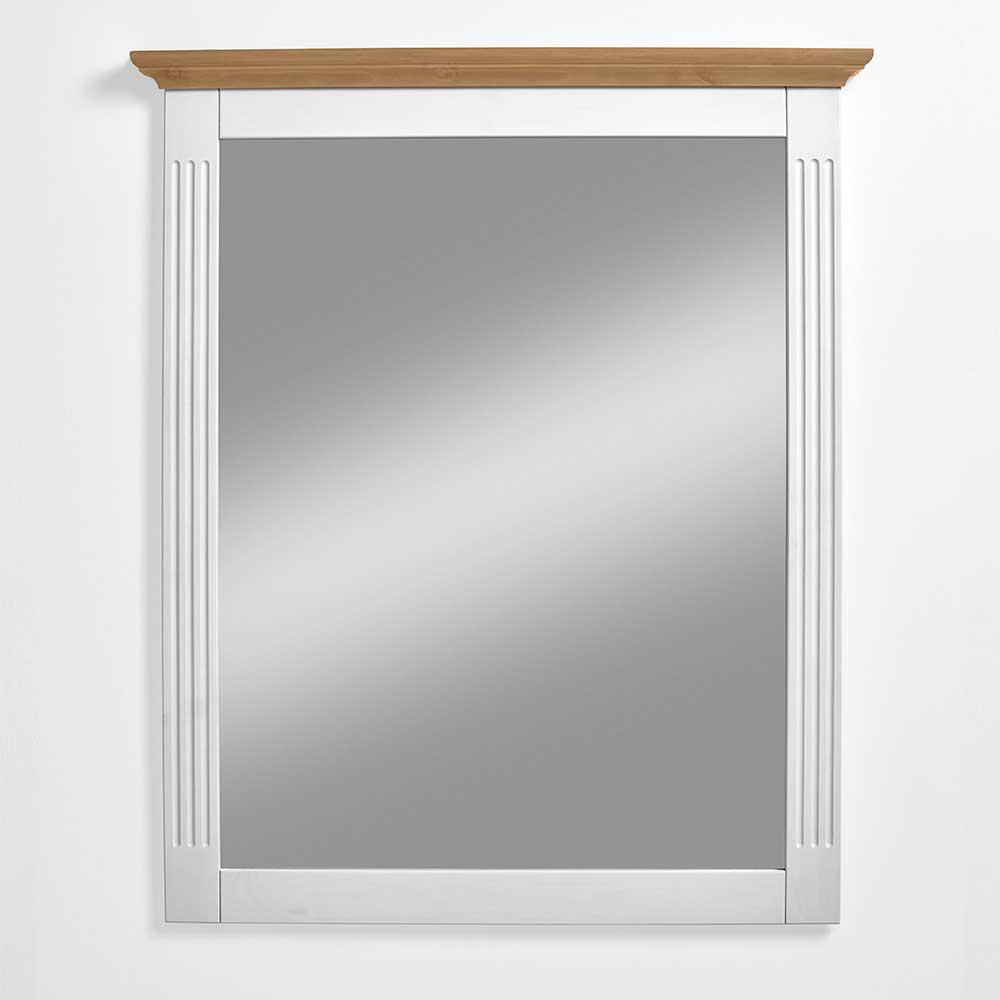 Garderobenspiegel in Weiß Kiefer massiv Landhaus Design   Flur & Diele > Spiegel > Garderobenspiegel   Life Meubles