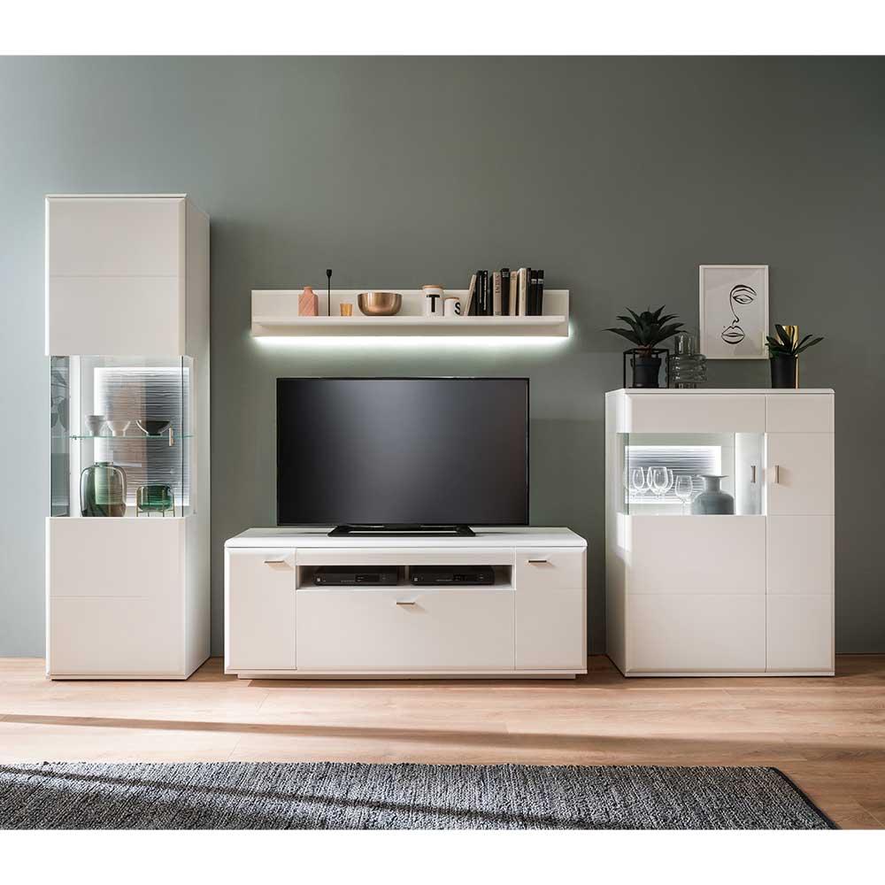 Moderne Wohnwand in Weiß und Anthrazit 300 cm breit (vierteilig)