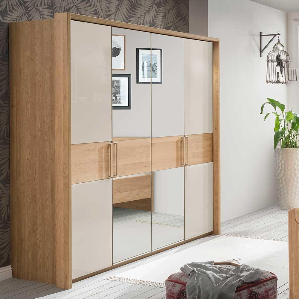 Schlafzimmer Kleiderschrank in Beige Glas beschichtet Spiegel