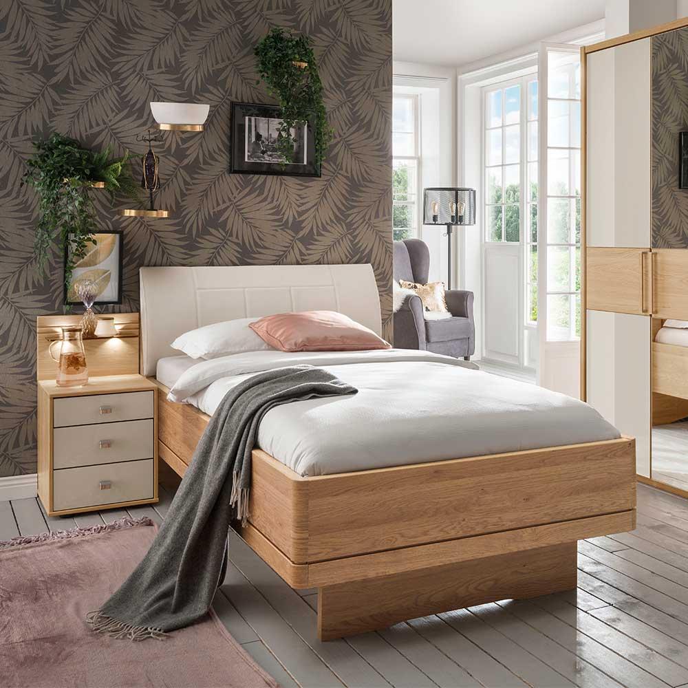 Einzelbett und Nachtkonsole in Beige und Eiche teilmassiv Polsterkopfteil (zweiteilig)