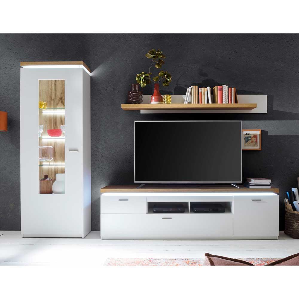 TV Wohnwand in Weiß und Wildeiche Optik LED Beleuchtung (dreiteilig)