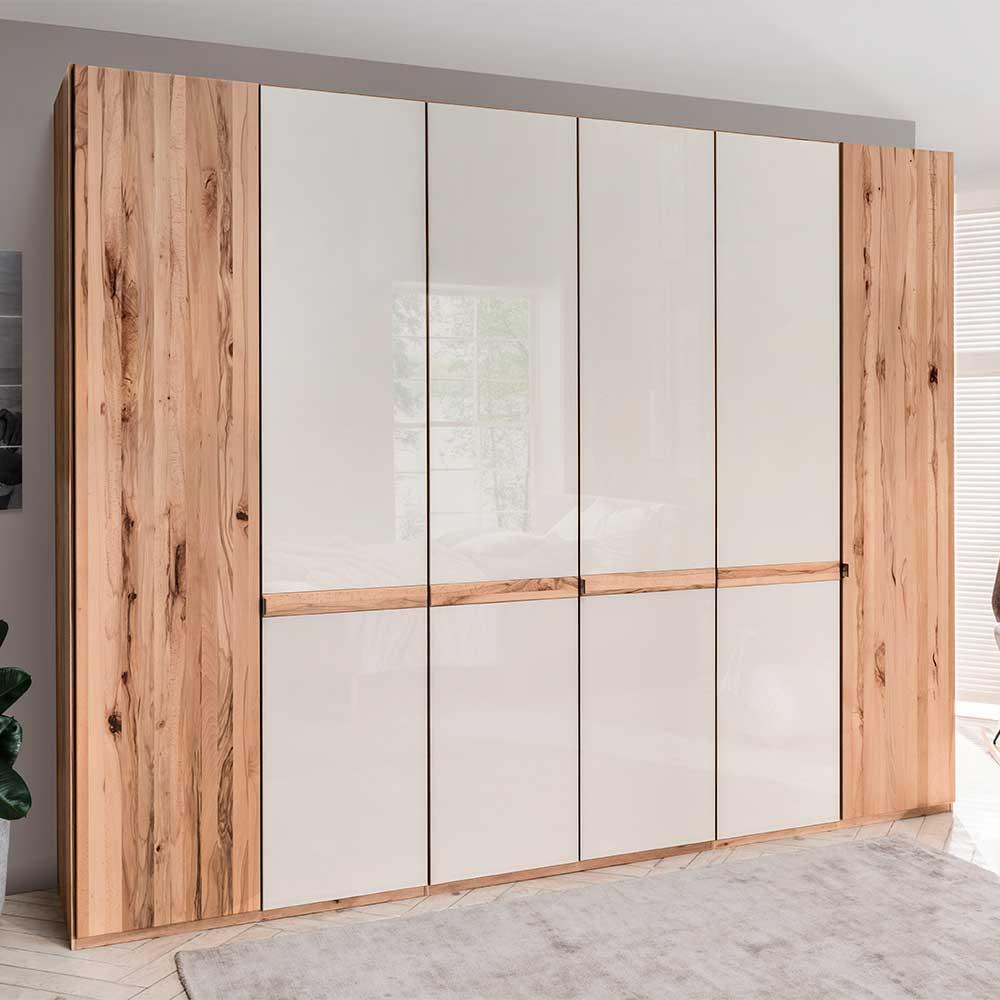 Design Kleiderschrank in Beige Glas beschichtet Astkernbuche