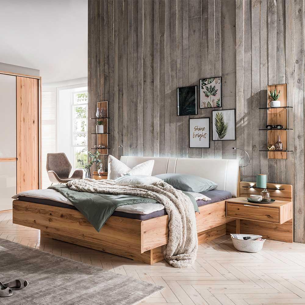 Doppelbett in Kernbuchefarben und Beige Massivholz und Kunstleder (dreiteilig)
