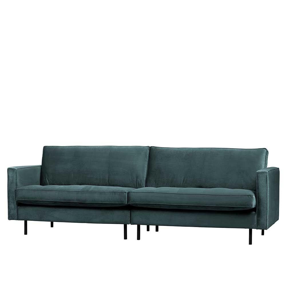 Dreisitzer Sofa in Petrol Samt 275 cm breit