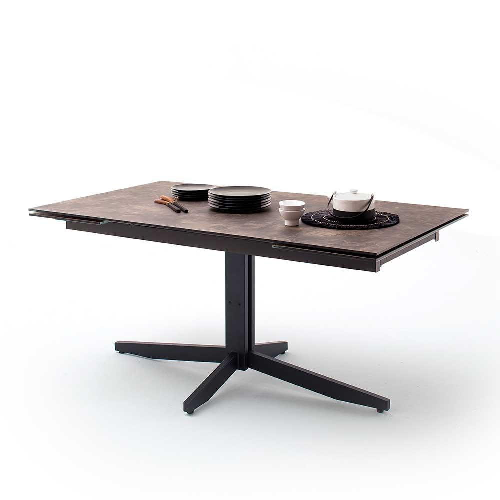 Design Esstisch in Dunkelbraun und Schwarz ausziehbar