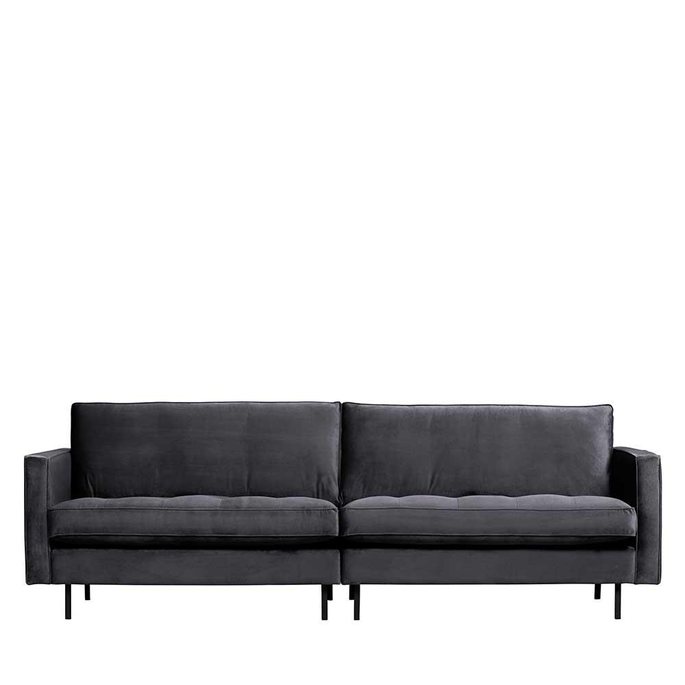 Wohnzimmer Sofa in Dunkelgrau Samt Retro Look