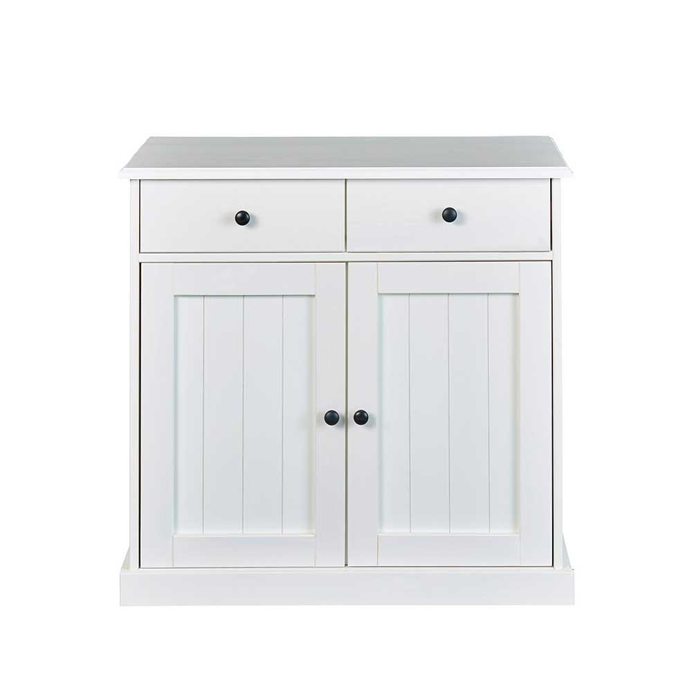 Garderobenkommode in Weiß Kiefer massiv 90 cm breit