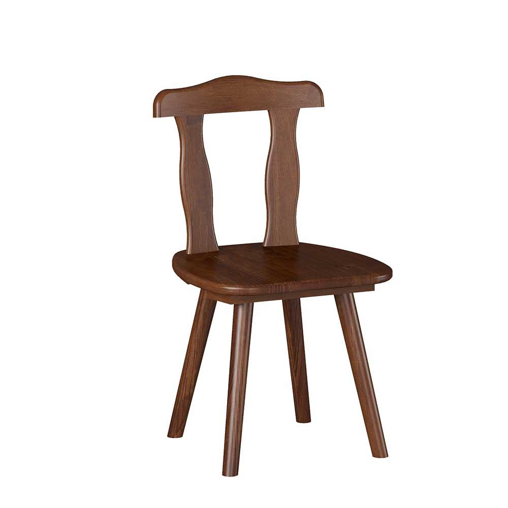 Esstisch Stühle im rustikalen Landhausstil Dunkelbraun Kiefer massiv (2er Set)