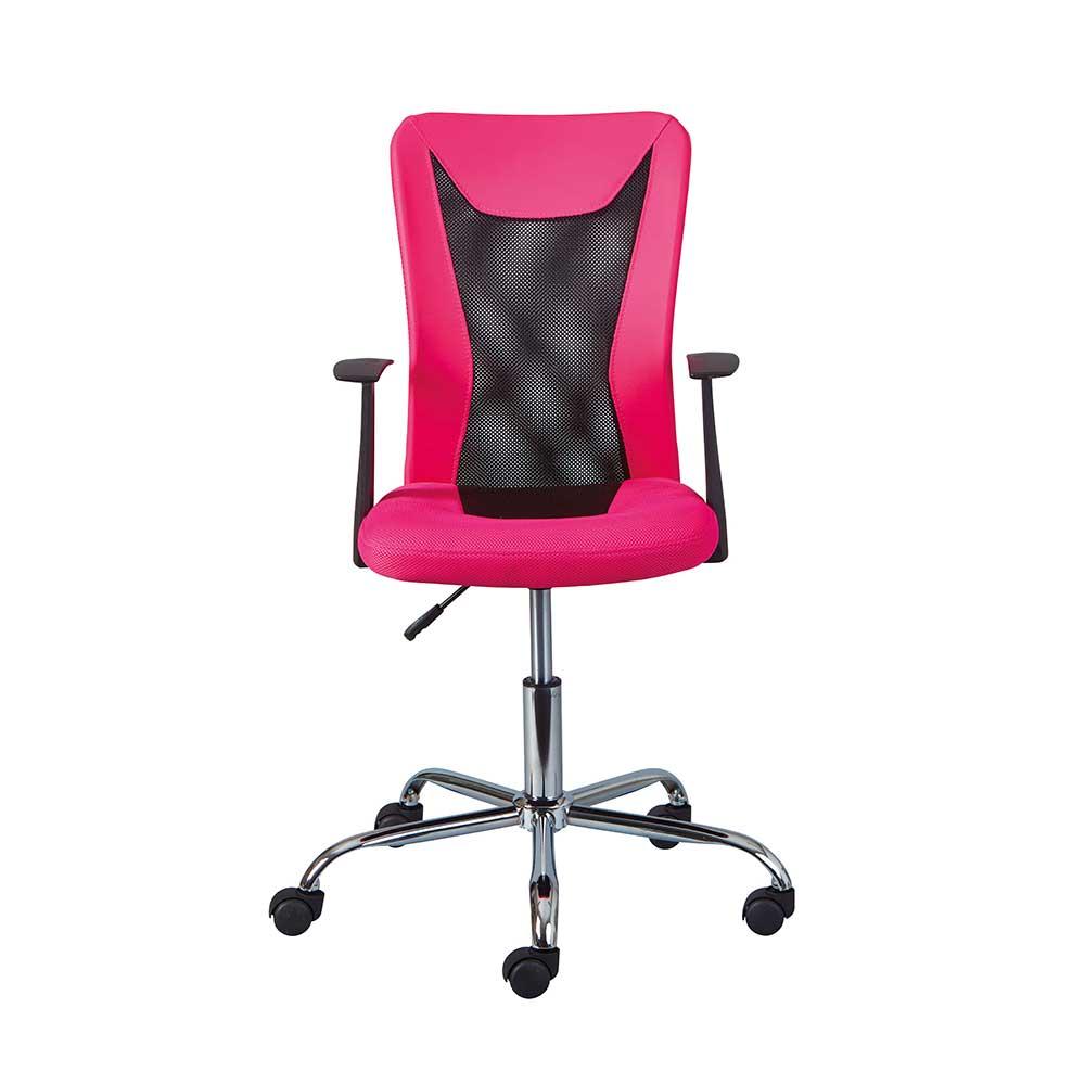 Schreibtischstuhl in Pink und Schwarz höhenverstellbar günstig online kaufen