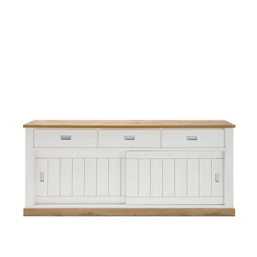 Schiebetüren Sideboard in Weiß und Wildeiche Optik 215 cm breit