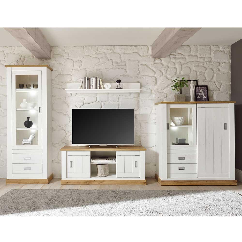 TV Wohnwand in Weiß und Wildeiche Optik Landhaus Design (vierteilig)