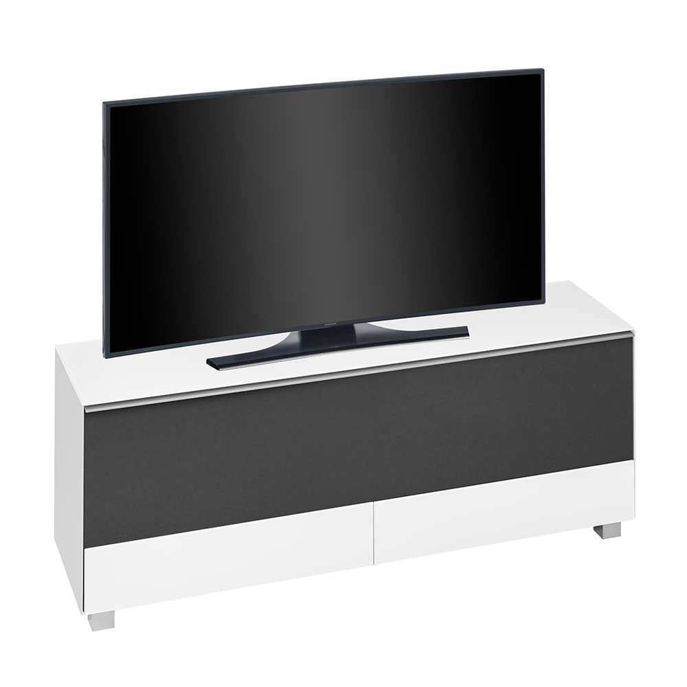 TV Sideboard in Schwarz Weiß Akustikstoff