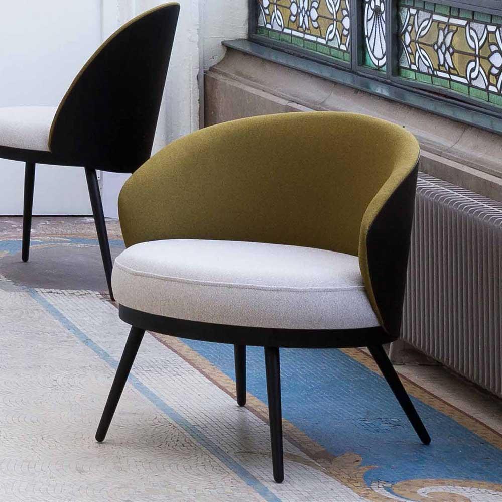 Designersessel in Khaki Webstoff Sitzfläche in Hellgrau