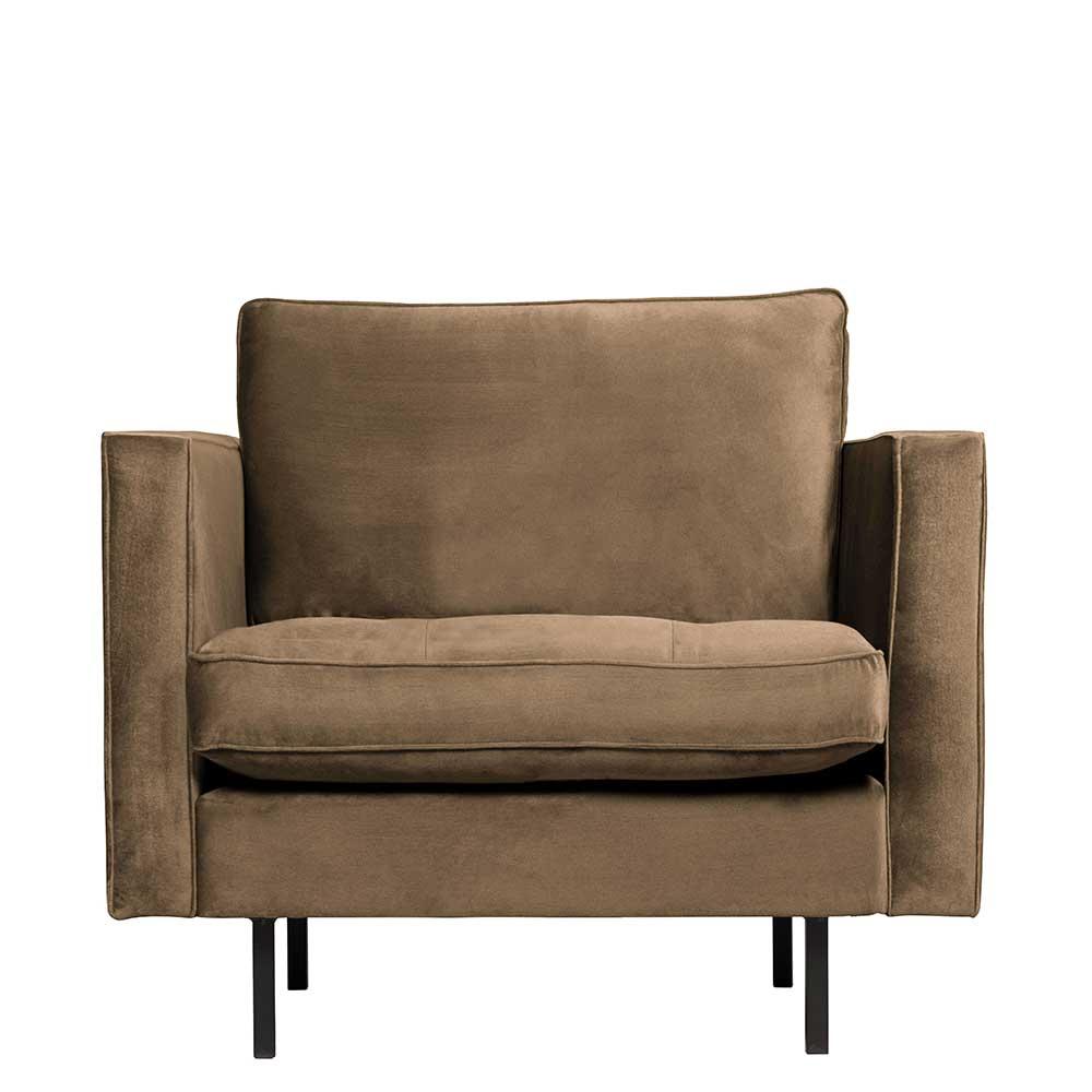 Sessel in Taupe Samt Retro Design