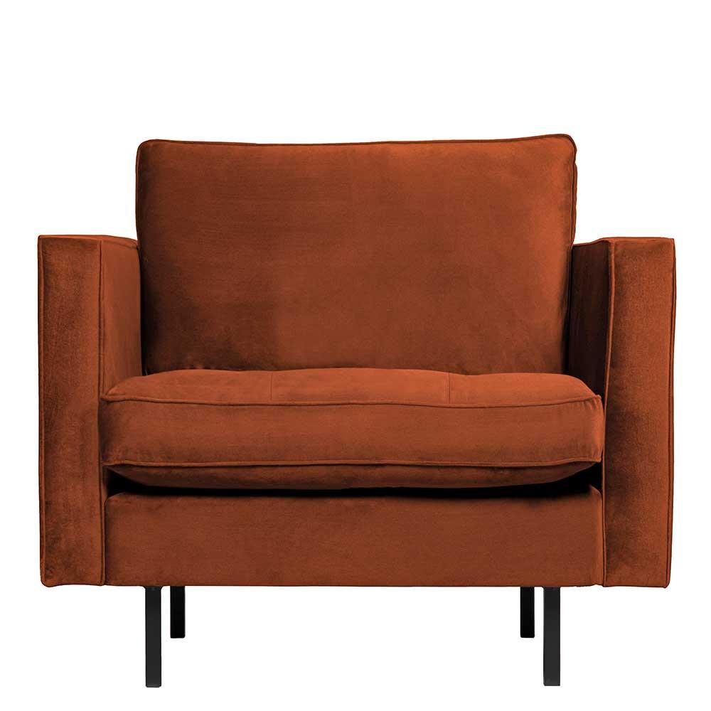 Wohnzimmer Sessel in Rostfarben Samt und Metall